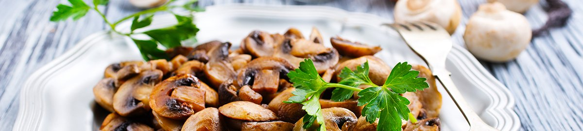 fried mushrooms, mushrooms with onion on plate